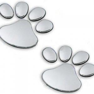 2x-Aufkleber-3D-Pfoten-Tatzen-von-Hund-oder-Katze-Chrom-Sticker-silber-60-x-55-mm-B00BRLPLEQ